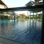 Outdoor pool viewed from inside lounge