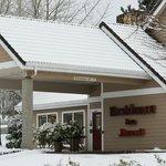 Hotel during snowfall