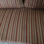 Stained couch in the room