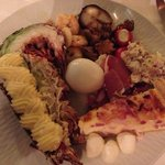 a small portion of the appetizer buffet