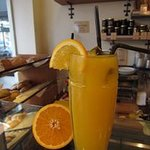 Fresh orange juice squeezed here on demand