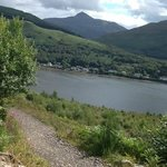 on the way up to the cobbler you can see ben Lomond  and loch long good we walk