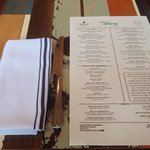 Menu and set up on reclaimed wood table