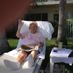Mom poolside relaxing at 86 years.