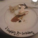 Complimentary dessert for hubbys birthday!