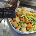Chickpea, panzella salad - with chickpeas, tomato, cucumber, pepper, croutons lemon oil & balsam