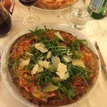 the arugula and Grana Padano pizza