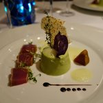 Entree seared tuna with pea & mint panna cotta