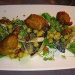 Brambles Seabass with crab potato cakes and chorizo salsa