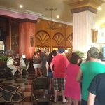Lineup for the customer service desk, to ask questions or book specialty restaurants. >1hour