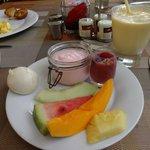 fresh selection from In Yo Cafe breakfast buffet (strawberry yogurt and Hawaiian poi shooter)