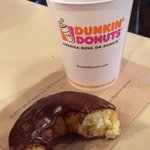 Great double chocolate donut and coffee