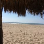 Beach at Nuevo Vallarta from under the palapa