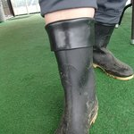 Cuff the rubber boots to fit larger calves