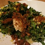 Crispy kale salad with cheese ice cream..taste better than it photographs!