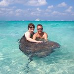 Hubby and I making friends at Stingray City