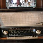 Antique radio in library