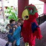 afraid of the mascot :)-