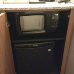Microwave and fridge below coffee maker