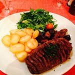 Whole duck breast with fried potatoes and mushrooms