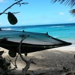 my Byer Mosquito Hammock set up right on the beach where I slept