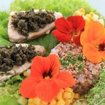 Steamed Norwegian salmon with caper dresing
