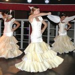 The Spanish dancers in one of their many dress changes.