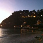 Facade of Nami and other cliffside resorts at dusk