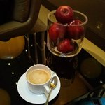 free coffee and apples in lobby