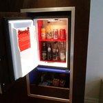 room fridge with freebies