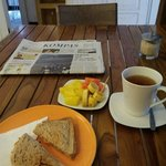 Simple but good breakfast. Delicious bread!