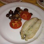 Whiting for breakfast with mushrooms and delicious tomatoes