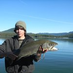 17 pound German Brown caught at Lemolo Lake Resort just 15 miles from Crater Lake