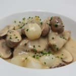 "Veal ""Blanquette"" White Cream Sauce, Glazed Pearl Onions & White Mushrooms"