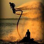 sunset flyboarding