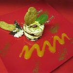 tiramisu,pistachio tuille, apricot coilis, ground pistachios cocoa barry choc runouts