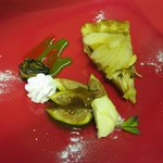 Apple & pear tart,calvados syrup, roasted figs, fig puree, clotted cream  this always sells out