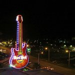 Hard Rock Logo in Neon - at night.