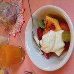 Lovely fresh fruit salad for breakfast.