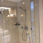 Large shower, floors are heated