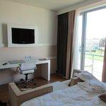 TV, desk, and room window