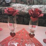 champagne glasses with roses