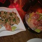 Spicy tuna crispy rice sushi, red snapper sashimi