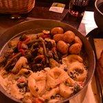 Veggie meal, pasta, veg and potatoes