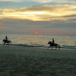 Horse riders along Ngapali Beach at sunset