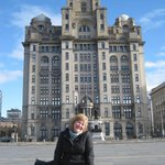 Liz at the Liver Building