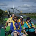 Captain John of Florida Airboat Tours and happy customers