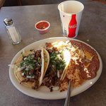 Beef Tacos Rice and Beans. This place is NOT closed!