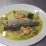 Wild Whitby Seabass with Garlic Prawns