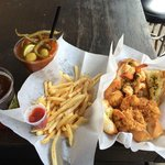 Shrimp, fries, beer & bloody mary.  perfect lunch
